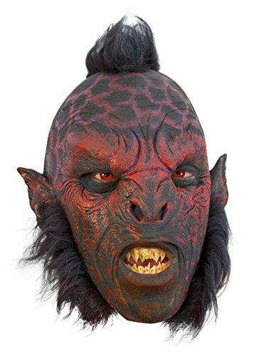 Epic Armoury Schaurige Ork Maske mit Haaren rot, Herrenmaske Halloween LARP Cosplay Orkgesicht aus Latex Faschingskostüm