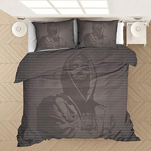 Tupac 2Pac ropa de cama con funda nórdica impresa rapero, cama individual suave y cómoda 3D cama doble para adultos y adolescentes edredón ropa de cama textiles para el hogar-K_200x230cm (3pcs)