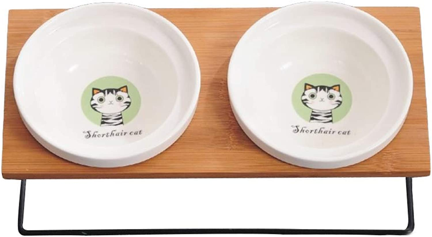 JIANXIN Pet Table, Cat Bowl, Dog Bowl, Ceramic Double Bowl, Suitable for Cats and Small Dogs (color   B)