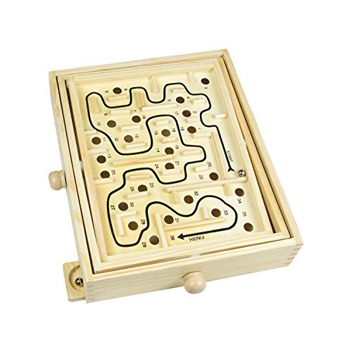Global Gizmos - Traditionelles Holz Labyrinth Spiel