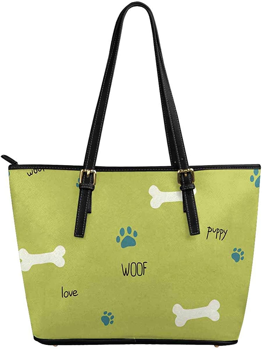 INTERESTPRINT Dog Theme Words, Bones and Paws Women Totes Top Handle HandBags PU Leather Purse