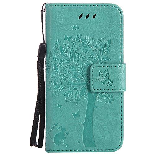 Snow Color iPhone 5S/SE/5 Hülle, Premium Leder Tasche Flip Wallet Case [Standfunktion] [Kartenfächern] PU-Leder Schutzhülle Brieftasche Handyhülle für Apple iPhone SE 5S 5 - COKT010012 Grün