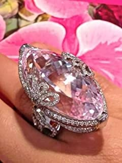 Cocktail Ring 925 Silver Pink Sapphire Ring Wedding Bridal Women Jewelry (10)