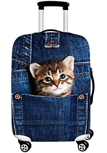 スーツケースカバー 伸縮素材 欧米風 キャリーバッグ カバー 耐久性 お荷物カバー 防塵カバー 人気 おしゃれ かわいい/Z748 (XL, 猫A)