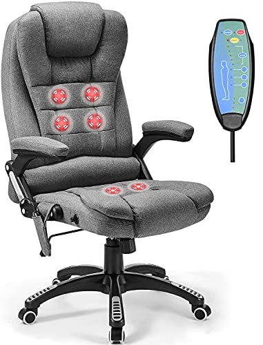 Massage Office Chair with Lumbar Support, Heated Chair for Home Office, High Back Executive 6 Vibrating Pointed with Adjustable Back, Fabric (Grey)