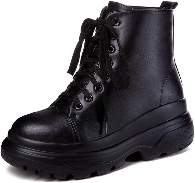 SENERY Women Winter Ankle Boots Fashion Lace Up Warm Short Plush Martin Boot Flat Platform Motorcycle Booties