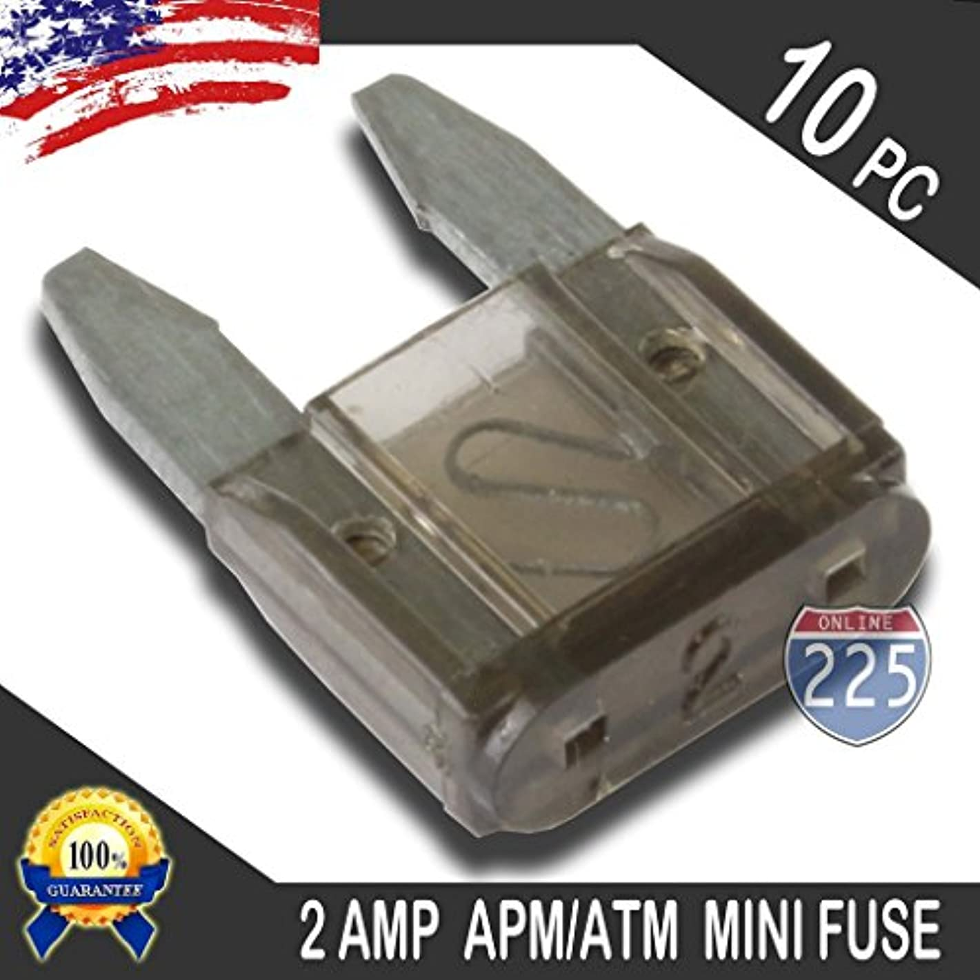 10 Pack 2 AMP APM/ATM 32V Mini Blade Style Fuses 2A Short Circuit Protection Car Fuse