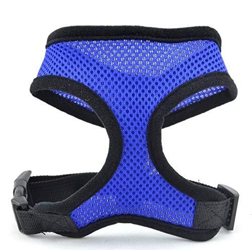AZGOGO 1pc Adjustable Soft Breathable Dog Harness Nylon Mesh Vest Harness for Dogs Puppy Collar Cat Pet Dog Chest Strap Leash - DarkBlue