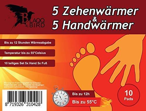 Blaqqbird Zehenwärmer & Handwärmer - [Je 5 Paar] Perfekt geeignet als Taschenwärmer und Fußwärmer - Vielseitig einsetzbare Wärmepads für Wintersport und Alltag - Thermopad | Schuhwärmer | Wärmesohlen
