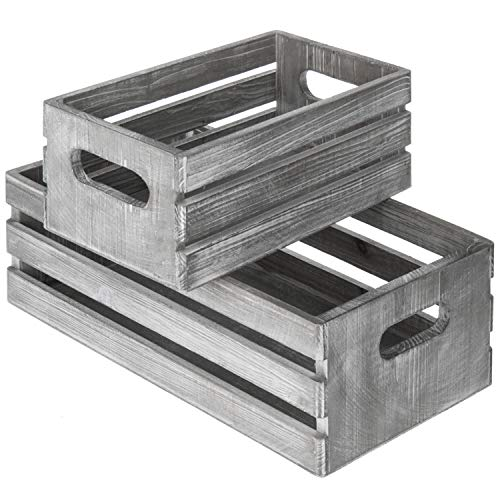 MyGift Vintage-Style Light Gray-Wash Brown Wood Nesting Boxes, Storage Crates w/Handles, Set of 2,