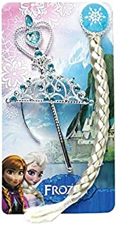 مجموعة ملحقات شعر بتصميم تاج السا مع عصا سحرية وجديلة شعر للبنات من فروزن