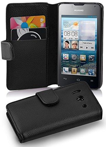 Cadorabo Hülle für Huawei Ascend Y300 - Hülle in Oxid SCHWARZ – Handyhülle mit Kartenfach aus struktriertem Kunstleder - Case Cover Schutzhülle Etui Tasche Book Klapp Style
