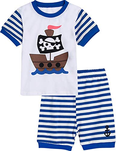 MOMBEBEB COSLAND Schlafanzug Piraten Jungen Pyjama Kinder Kurz Zweiteiliger 4-5 Jahre Gestreift