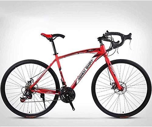 MU 26-Pulgadas de Camino de la Bicicleta, de 24 Velocidades Bicicletas, Doble Freno de Disco, Marco de Acero de Alto Carbono, Camino de la Bicicleta de Carreras,Rojo