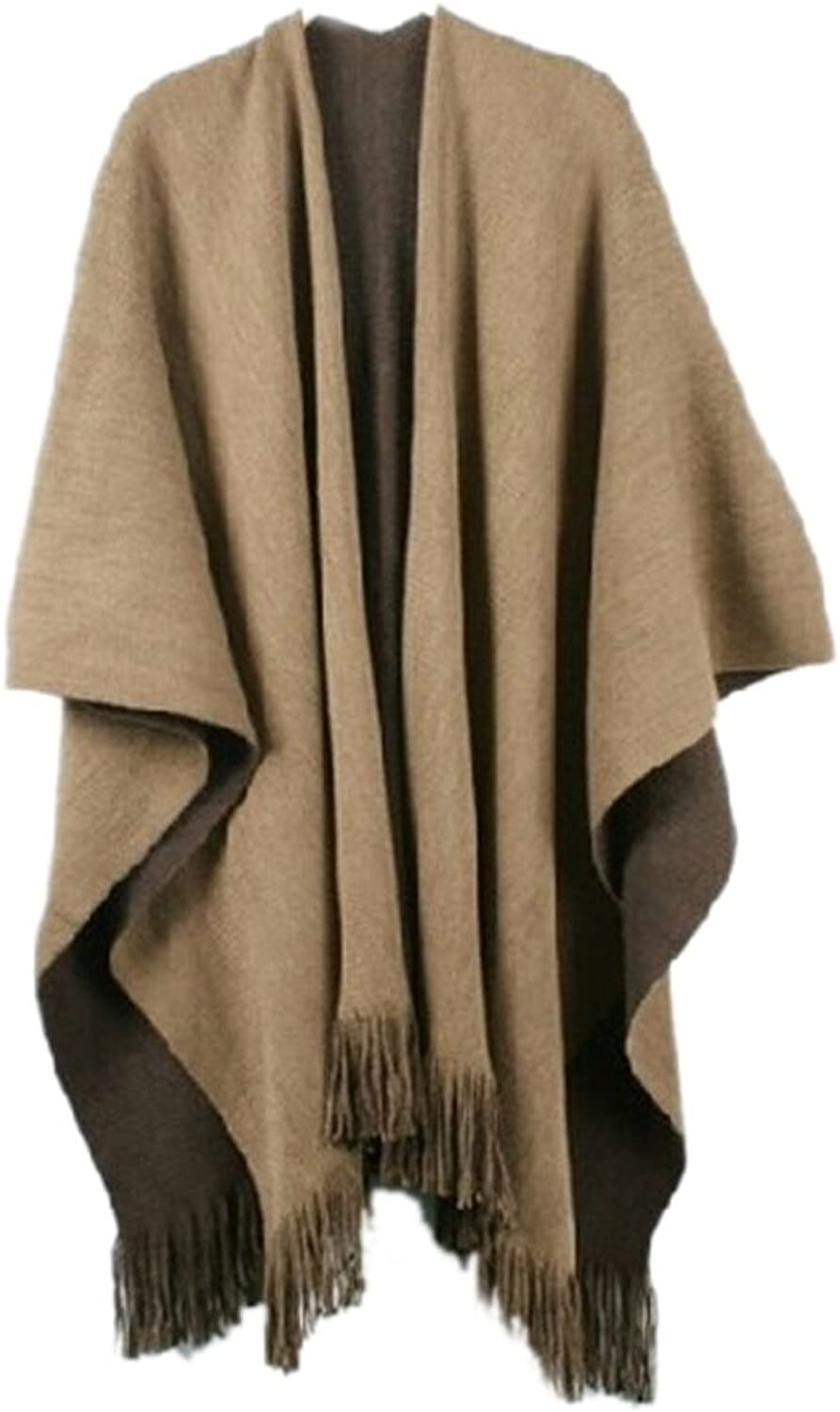 Icegrey Women Knitted Shawls and wraps Warm Cardigan Sweaters Coffee