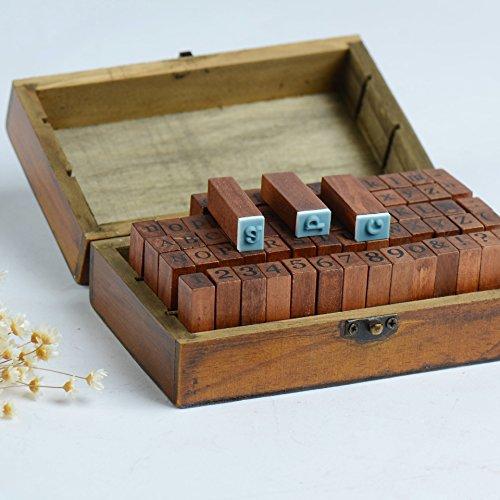 Home-organizer Tech 70pcs Vintage Wooden Alphabet Stamps Rubber Letter Number And Symbol Stamp Set