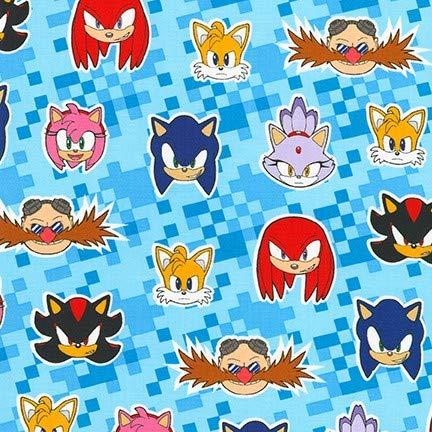 Tela Sonic The Hedgehog RK282 Sonic The Hedgehog and Friends – por 0,5 metros – Colección SEGA de Robert Kaufman – 100% algodón