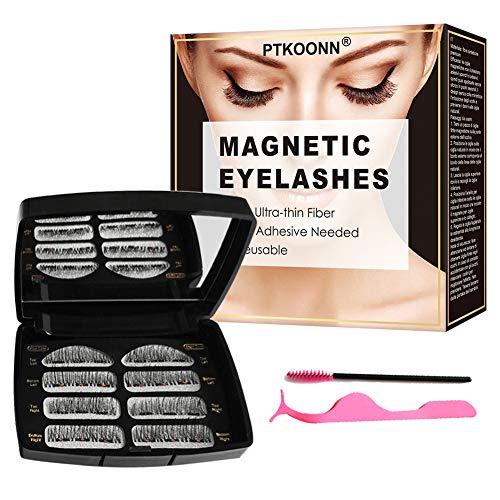 Faux cils eyeliner magnetique,Cils magnetique naturel,Faux cils magnetique,3D naturel faux Cils,Faux cils naturels sans colle 3D réutilisables,Eyeliner liquide magnétique imperméable