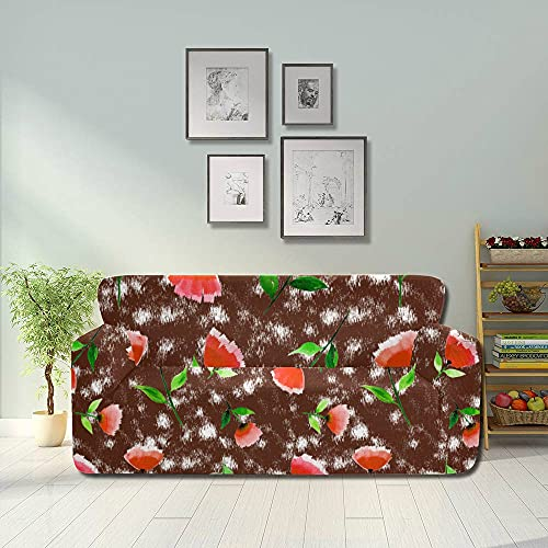 AQQA Orange Romantic Beautiful Floral Tulip Couch Dust Cover Couch Cushion Cover Fitted Furniture Protector 2&3 Seat Sofas