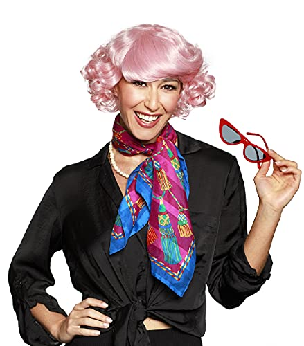 Frenchy Grease Color Pink - Enigma Wigs Retro 50s Poodle Perm Short Sides Curly Top Frenchie Cosplay Didi Conn Ladies Airhead Bundle MaxWigs Costume Wig Care Guide