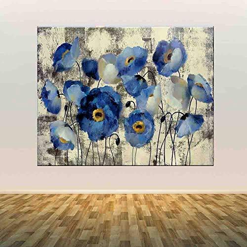hetingyue Quadri su Tela Moderni Fiori Blu Decorazione Poster e Stampe Nordic Mural Soggiorno Pittura Frameless 60X85CM