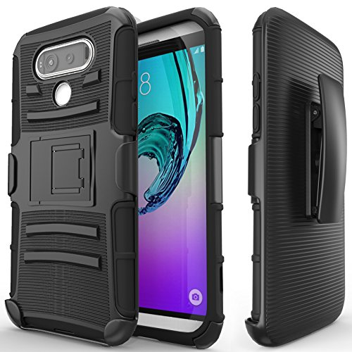 Nznd Belt Clip Holster with Kickstand Combo Case for LG V20 - Black