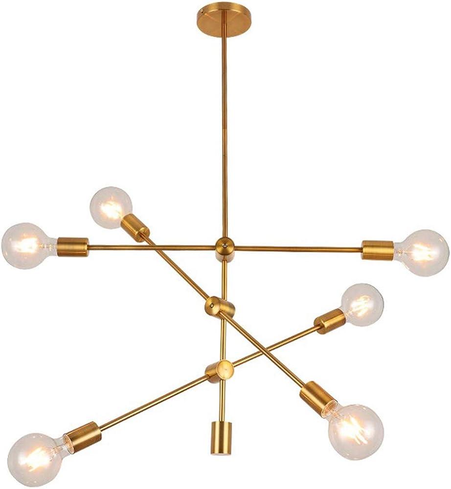 Kuandar chandelier,lampadario led  dorato,creativo a luce satellite con 6 luci RYYABC36302