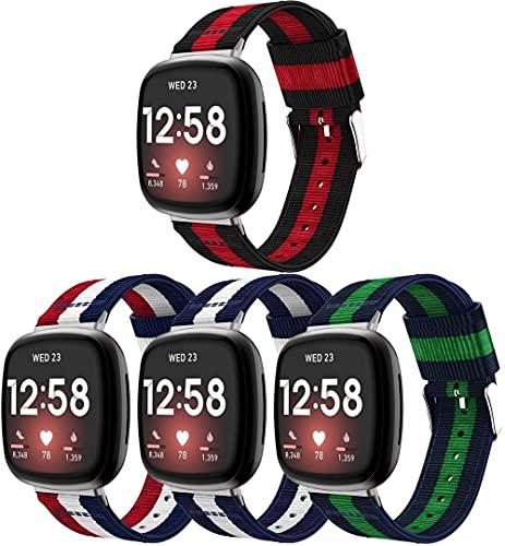 Chainfo Compatible con Fitbit Versa 3 / Fitbit Sense Correa de Reloj, Pulsera Deportivo de Reloj de Nylon, con Cierre de Clip, Respirable y Reemplazable (4-Pack H)