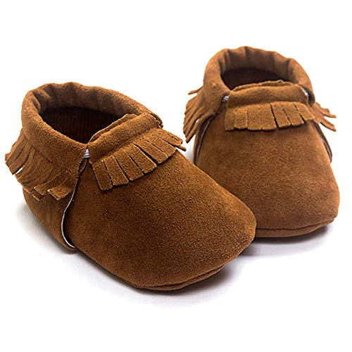 Meckior Infant Baby Girls Boys Premium Soft Sole Tassel Bowknot Moccasins Toddler Prewalker Princess Anti-Slip Crib Baptism Loafers Shoes