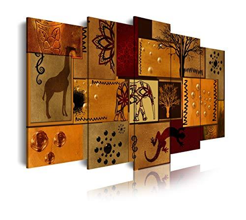 DekoArte 463 Cuadros Modernos Impresión de Imagen Artística Digitalizada, diseño Estilo Africano étnico, multi marrones, 5 piezas (150x80x3cm)