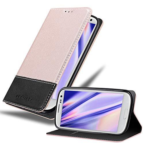 Cadorabo Custodia Libro per Samsung Galaxy S3 / S3 NEO in ORO ROSATO NERO - con Vani di Carte, Funzione Stand e Chiusura Magnetica - Portafoglio Cover Case Wallet Book Etui Protezione