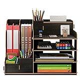 卓上収納ケース オフィス収納 机上収納ボックス 本立て 小物入れ 卓上収納 仕切り デスク上置き棚 大容量 書類整理 机上用品 ブラック