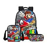 Backpack Mochila De 3 Piezas para Niños Set Super Mario 3D La Caja De Lápiz con El Bolso Impreso Niños Mochilas Escolares Y Almuerzo Bolsa, Entregado Dentro De 15-21 Días A-16inch