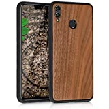 kwmobile Holz Schutzhülle für Huawei Honor 8X - Hardcase Hülle mit TPU Bumper Walnussholz in Dunkelbraun - Handy Case Cover