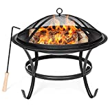 Best Choice Products 22-inch Outdoor Patio Steel BBQ Grill Fire Pit Bowl w/Spark Screen Cover, Log Grate, Poker for Backyard, Camping, Picnic, Bonfire, Garden, Black