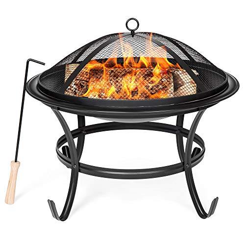 Sale!! Best Choice Products 22in Steel Outdoor BBQ Grill Fire Pit Bowl w/Screen Cover, Log Grate, Po...
