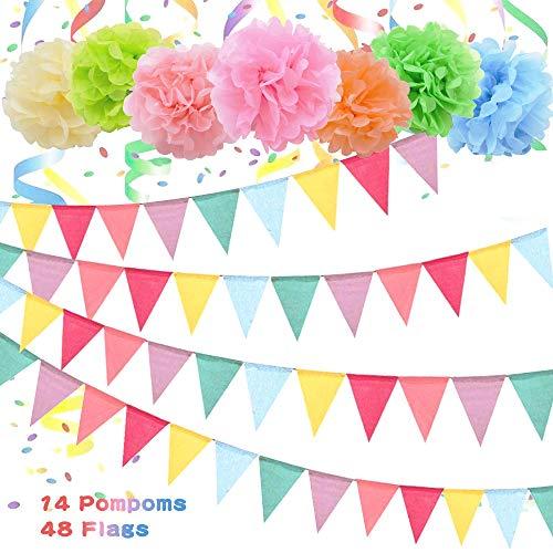 Coolba Wimpelkette,4er wimpelkette outdoor Mehrfarbig Wimpel Girlande mit 14 Seidenpapier Pompoms,Wimpelkette Stoff Bunting Banner für Geburtstag,Hochzeit,Indoor,kinderzimmer,Party Dekoration Flagge