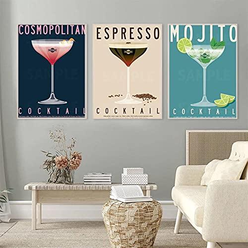 Vintage Bar Decoracion Mojito Poster Café ExpréS CóCtel De La Lona Arte Estampados Martini CóCtel Pared Cuadro para Salon Club Pintura 30x40cmx3 No Marco