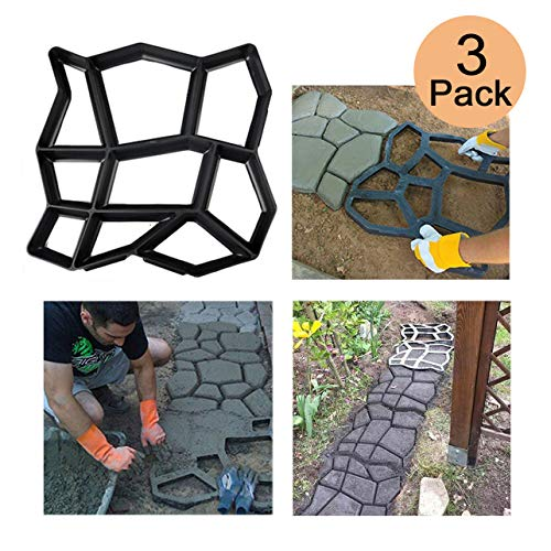 3 Pack Irregular DIY Pavement Mold Walk Maker Path Maker Brick Mold Concrete Form Pathmate Stepping Stone Molds for Concrete Mould Reusable for Garden, Court Yards, Patios and Walks, 17 x 17in