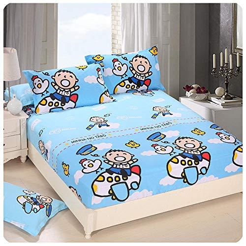 CYYyang Protector de colchón de Rizo algodón y Transpirable Hoja de Cama de Dibujos Animados Paquete Completo de una Pieza-7_150 * 200 + 30