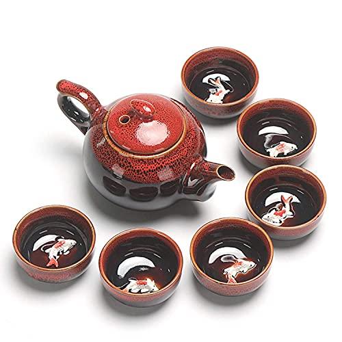 BaiJaC Tetera Japonesa, Tetera de té de Kung fu Chino portátil, Conjunto de té de cerámica Vintage, Conjunto de té de Viaje, Conjunto de té Blanco (Color: Rojo) (Color : Red)