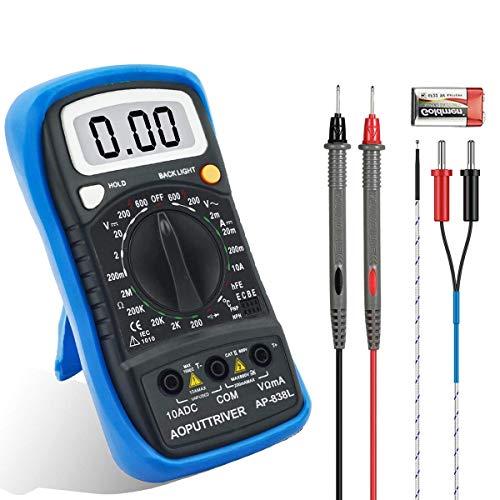 テスター デジタルマルチメータAP-838L 手動範囲電気 電圧 電流 抵抗 ダイオード 測定 導通 テスター 小型 LCDバックライト 自動車 日本語説明書