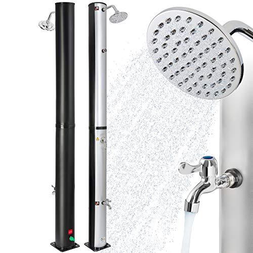 Arebos Douche Solaire 37 L | 199 cm | Température de l'eau réglable jusqu'à 60° | Pommeau de douche réglable