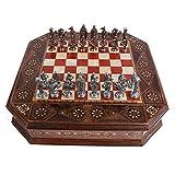 Lsqdwy Juego de ajedrez de Metal Royal Medieval British Army Cobre Antiguo, Piezas Hechas a Mano, Tablero de Rosas de Madera Maciza Natural, Almacenamiento Interno