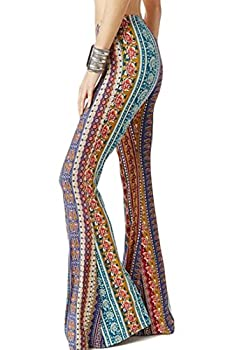 WSPLYSPJY Women s Print Stretch Bell Bottom Flare Palazzo Pants Trousers