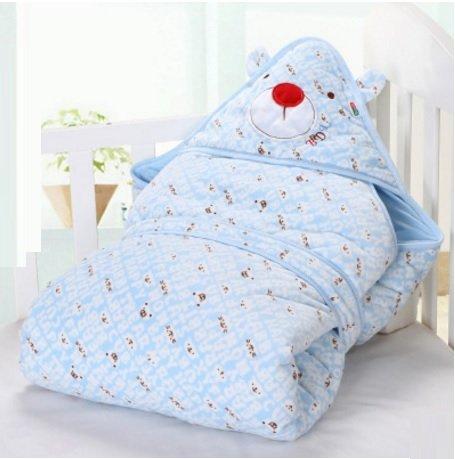 婴儿抱被新生儿法兰绒绒加厚包被春秋冬季抱毯可脱胆襁褓包巾宝宝用品 6158款 (蓝色)