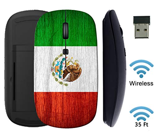 MSD Wireless Mouse 2.4G Black Base Travel Mice with USB Receiver, Noiseless and Silent Click with 1000 DPI for Notebook PC Laptop Computer MacBook Image ID: 38336069 Mexico Flag or Mexican Banner on
