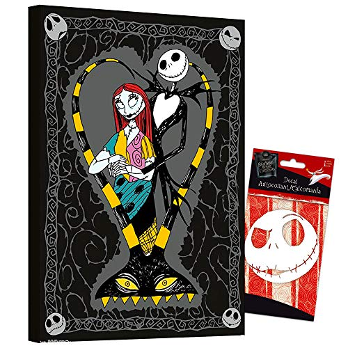 The Nightmare Before Christmas Poster Wall Art Set -- Nightmare Before Christmas Bundle Nightmare Before Christmas Decal Sticker with Mounted Nightmare Before Christmas Print (8'x11') (The Nightmare Before Christmas Room Decor)