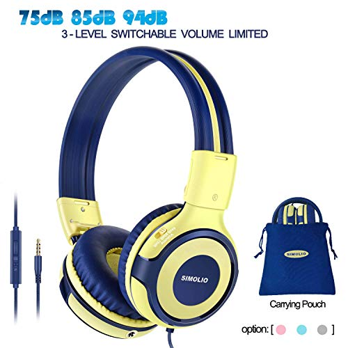 SIMOLIO Kids Headphones with Microphone, 94dB-85dB-75dB Volume Limited Headphone Share Port, On-Ear Wired Stereo Headphone with AUX Jack, Foldable & Durable Headphones for Children,Teens (Yellow)