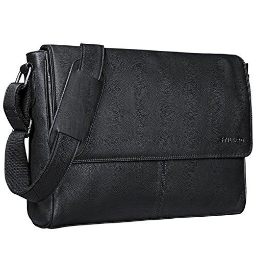 STILORD 'Oskar' Umhängetasche Laptoptasche 15 Zoll aus echtem Leder Messenger Bag Business Vintage Erscheinungsbild, Farbe:schwarz